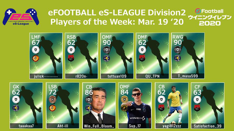 eFOOTBALL eS-LEAGUE 5th Division2 Players Of The Week 05