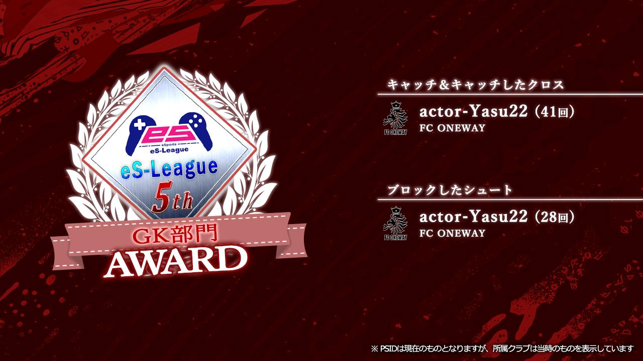FIFA20 eS-League JAPAN 5th AWARD【GK部門】