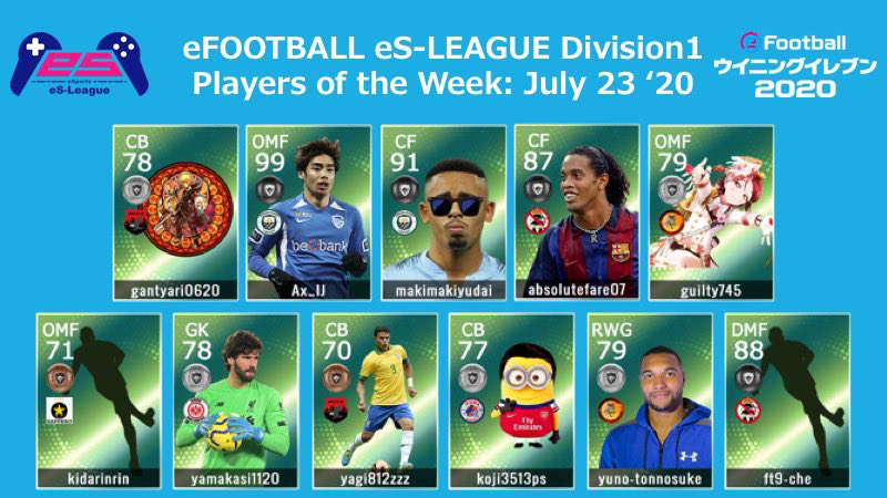 eFOOTBALL eS-LEAGUE 6th Division1 Players Of The Week 07